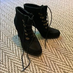 Black suede heeled combat boots